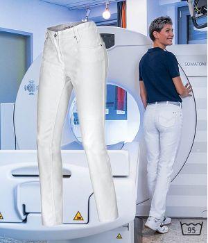Pantalon blanc Jeans femme, 5 poches, Coupe seyante, Liberté de mouvement