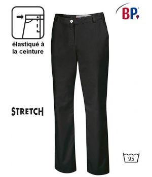 Pantalon Noir Femme Polyester Coton Stretch, Elastiqué à la Ceinture