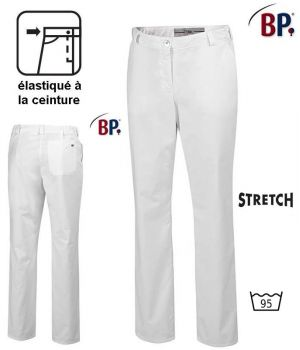 Pantalon Blanc Femme Polyester Coton Stretch, Elastiqué à la Ceinture
