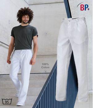 Pantalon Blanc Homme, 100% Coton, Peut Bouillir, Pinces