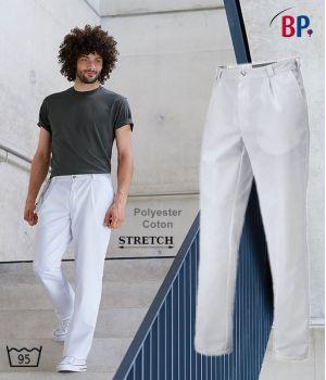 Pantalon Blanc Homme, Stretch, Coupe Confortable, Peut Bouillir à 95 °C