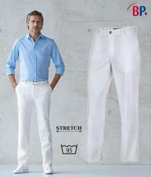 Pantalon Blanc Homme, Confort Stretch, Polyester Coton