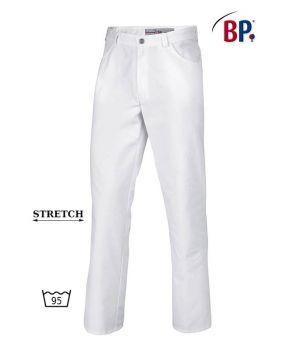 Pantalon Jean Blanc Homme Femme, Tissu Comfortec-Stretch, Polycoton