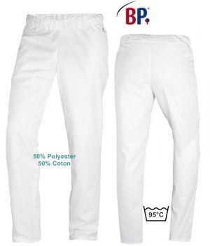 Pantalon Blanc Femme et Homme Polyester Coton, Taille Elastiquée