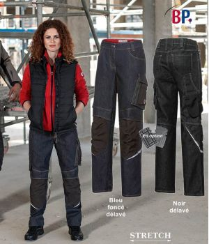 Jean de Travail Femme, Coupe Seyante et Ergonomique, Coton et Stretch