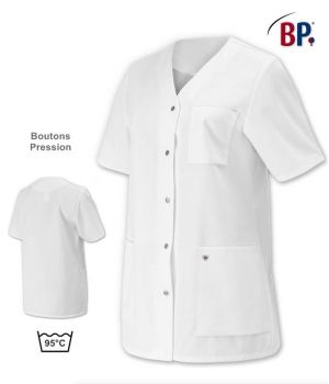 Tunique Blanche Femme, Peut Bouillir, Coupe Confort, Adapté Lavage Industriel