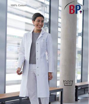 Blouse Blanche Femme Manches Longues, 100% Coton, Boutons Pression dissimulés