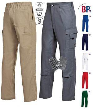 Pantalon de Travail, 100% Coton, Irrétrécissable, Elastique au Dos