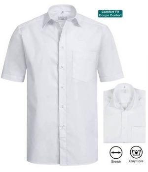 Chemise Homme Blanche, Manches Courtes, Comfort Fit, Coupe Confortable