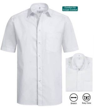 CourtesComfort Chemise FitCoupe BlancheManches Homme Confortable ynv8Nwm0O