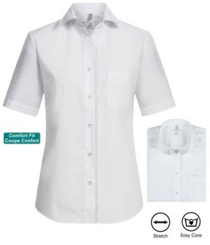 Chemisier Manches Courtes Blanc, Comfort Fit, Coupe Confortable, Stretch
