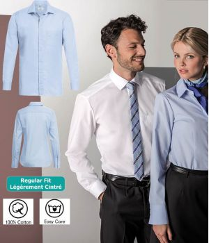 Chemise Manches Longues, Coupe Légèrement Cintrée, 100% Coton, Easy Care