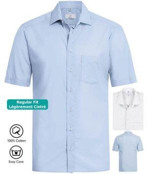 Chemise Manches Courtes, Coupe Légèrement Cintrée, 100% Coton, Easy Care