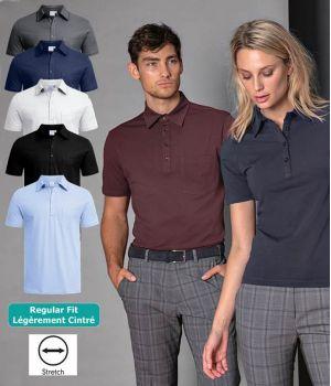 Polo Homme Manches Courtes, Col chemise Kent, Coton et Stretch