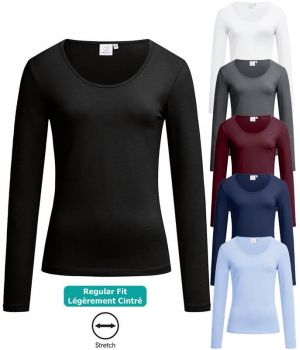 T-shirt Femme, Manches Longues, Confort Coton de qualité et Stretch