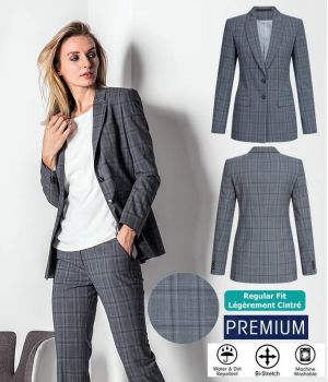Blazer Femme Long, Prince de Galles Gris Bleu, Bi-Stretch Grand Confort
