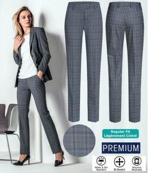 Pantalon Femme, Prince de Galles Gris Bleu, Bi-Stretch Grand Confort