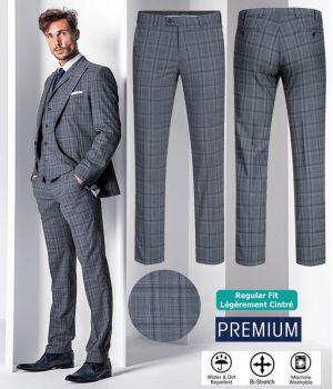 Pantalon Homme, Prince de Galles Gris Bleu, Bi-Stretch Grand Confort