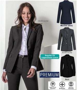 Veste Femme Premium, Blazer Long, Coupe droite ajustée, Bi-Stretch