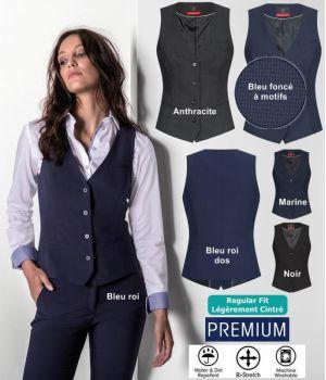 Gilet Femme Premium, Confort Bi-Stretch, 4 boutons, Lavable en machine