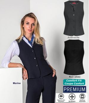 Gilet Femme Premium, 3 Boutons, Bi-stretch, Infroissable, Coupe Confort