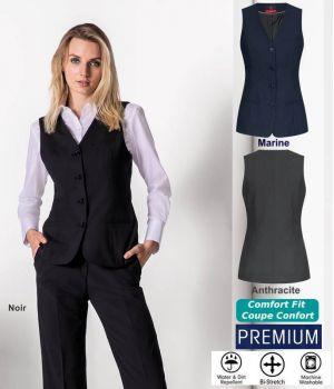 Gilet Femme Premium 4 boutons, Confort bi-stretch, Infroissable