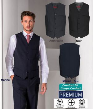 Gilet Homme Premium, 5 Boutons, Bi-Stretch, Coupe Confort, Infroissable