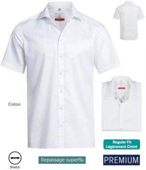 Chemise Manches Courtes Blanc, Coupe Regular Fit, Coton et Stretch