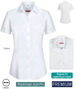Chemisier Manches Courtes Blanc, Coupe Regular Fit, Coton et Stretch