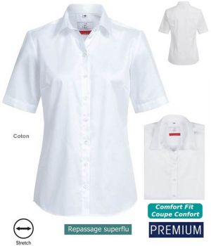 Chemisier Manches Courtes Blanc, Coupe Comfort Fit, Coton et Stretch