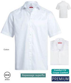 Chemise Manches Courtes Blanc, Coupe Comfort Fit, Coton et Stretch