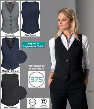 Gilet Femme, 4 boutons, Regular Fit, Stretch, Confort et Performance