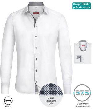 Chemise Homme Manches Longues, Blanc contrasté gris, Col Kent