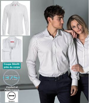 Chemise Homme Manches Longues, Rayures Gris clair, Col Kent