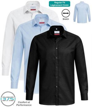 Chemise Homme Manches Longues, Regular Fit, Col Kent, Stretch