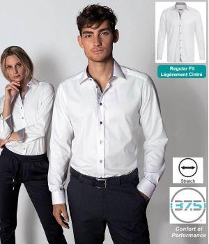 Chemise Homme Manches Longues, Blanc contrasté gris, Stretch