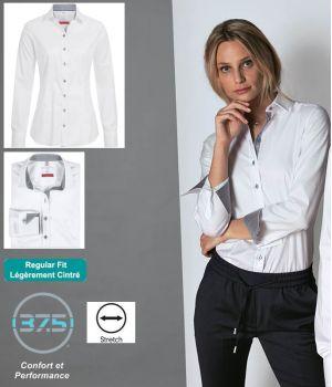 Chemisier Femme Manches Longues, Blanc contrasté gris, Col Kent étroit