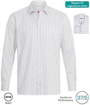 Chemise Homme Manches Longues, Blanc Rayures Gris clair, Stretch