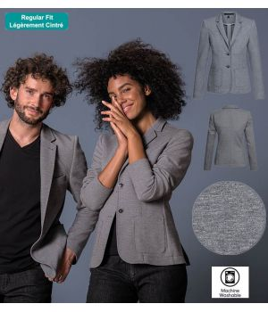 Veste Jersey Femme, Gris Chiné, Coupe Regular Fit Décontractée
