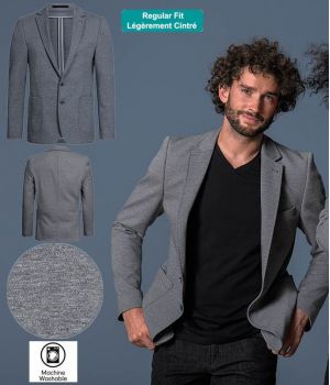Veste Jersey Homme, Gris Chiné, Coupe Regular Fit Décontractée