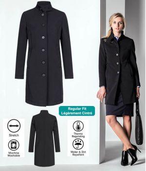Manteau Softshell Femme, Noir, Col relevé, Très chic, 2 poches côté