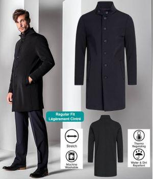 Manteau Softshell Homme, Noir, Col relevé, Très chic, 2 poches côté