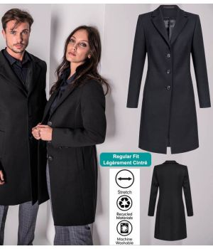 Manteau Femme, Noir, Laine Polyester et Stretch, Lavable en machine