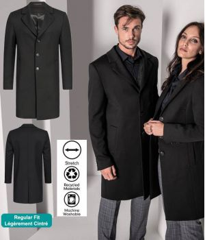 Manteau Homme, Noir, Laine Polyester et Stretch, Lavable en machine