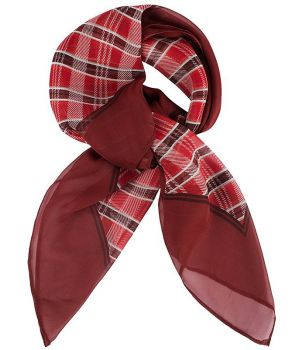 Foulard Carré Femme, Carreaux rouge, Lavable en machine