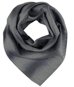Foulard, Écharpe imprimée, Noir et Gris à carreaux, 70 cm x 70 cm