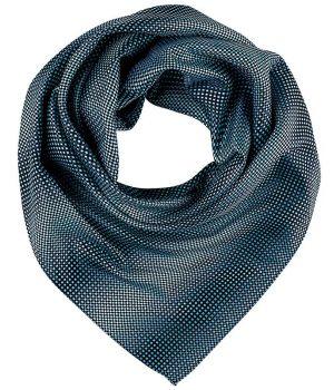 Foulard, Écharpe imprimée, Bleu et gris à carreaux, 70 cm x 70 cm