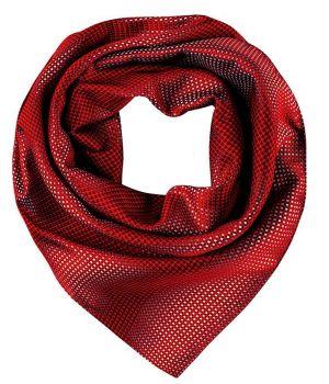 Foulard, Écharpe imprimée, Rouge et Gris à carreaux, 70 cm x 70 cm