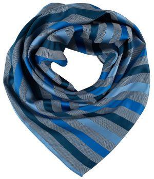 Foulard Carré Femme, Rayures bleu, Lavable en machine