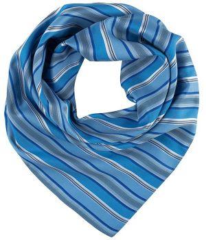 Foulard Carré Femme, Rayures bleu et gris, Lavable en machine